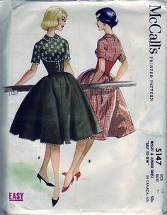 FREE SHIPPING Vintage 1959 McCall's 5147 UNCUT Sewing Pattern Misses Junior Dress Easy To Sew Size 13 Bust 33