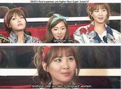 Q: Are SNSD's food expenses higher than Super Junior? OMG SOOYOUNG'S FACE! SHE LOOKS SO GUILTY! LOL XD