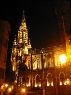 Basque Country, Bizkaia, Bilbao, Begoña Basilica at Night