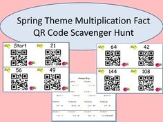 Are your students working on multiplication facts? This fun, bird themed QR code scavenger hunt is just what you need to give them a little extra. Common Core Reading, Common Core Math, Learning Stations, Fourth Grade Math, Math Work, Multiplication Facts, Spring Theme, Math Classroom, Teaching Math