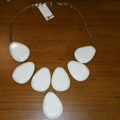 Zad Raina Teardrop Stone Necklace This is a white statement bib-style necklace purchased from Stitch Fix last fall and never worn. The chain is gold tone. New with tags and original box.  Perfect necklace to offset bright spring colors! Zad Jewelry Necklaces