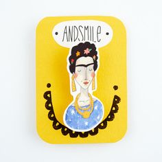 Frida Kahlo Brooch from andsmile on Etsy. Shop more products from andsmile on Etsy on Wanelo. Frida And Diego, Green Statement Necklace, Frida Art, Shrink Art, Shrinky Dinks, Air Dry Clay, Watercolor Illustration, Felt Crafts, One Pic