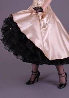 Petticoat-Rock Tellerrock SATIN creme-beige