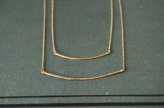 Coraline: Two Tier 14k Gold-Filled Double Hammered Curved Bar Necklace - Short/Long Simple Modern Chic Layering Jewelry - Layered Necklace