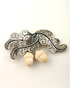 Extasia hand-carved fossil ivory acorns and oak leaf pin
