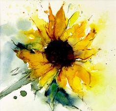 Watercolor Sunflower Painting by Annemiek Groenhout