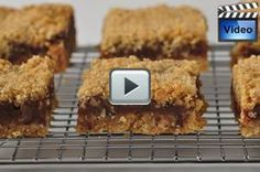 Date Squares are a delicious combination of pureed dates sandwiched between layers of buttery oatmeal crust. With Demo Video No Bake Desserts, Easy Desserts, Delicious Desserts, Dessert Recipes, Yummy Food, Sweets Recipe, Yummy Yummy, Vegan Desserts, Baking Recipes