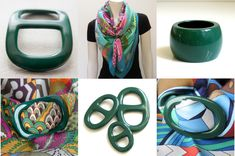 MaiTai Collectin lacquered scarf and shawl rings - vert sapin