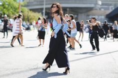 The Most Authentically Inspiring Street Style From New York #refinery29  http://www.refinery29.com/2015/09/93788/ny-fashion-week-spring-2016-street-style-pictures#slide-69  Big pants are seriously where it's at this street style season....