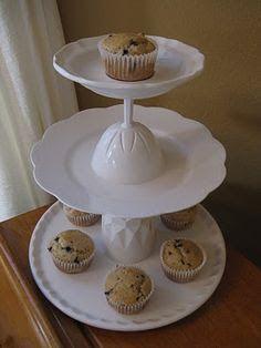 más y más manualidades: Cómo hacer un stand para postres o cupcakes usando copas de cristal
