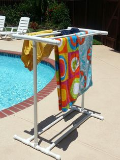 Pool Towel Drying Rack Simple Sweet Diy Pvc Drying Rack With 1000 Ideas About Towel Rack Pool On Inspiration