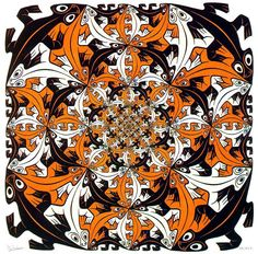 Escher was born in Leeuwarden, The Netherlands, son of an engineer and so grew between drawings and sketches. Graduated from the School of Architecture and Decorative Arts from the Dutch city of Haarlem, dedicated his life to the challenge of creating images that instigassem the observer, whether in the form of drawings, sketches and lithographs of buildings. The artist died in 1972, aged 74. http://didotdesign.com.br/didot_blog/?p=1869