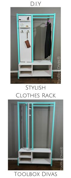 DIY stylish clothes rack or wardrobe with mirror and additional storage. Free plans And tutorial. Perfect for small apartments tiny homes and rooms without closets #Diy #Toolboxdivas @toolboxdivas #organixation #closet #mobilecloset #wardrobe #woodworking #freeplans