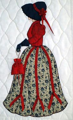 "#8 ""New Bonnet Girl Cousins""  Lindsay $6.50.  Lindsay is going shopping with her red ribbon appliqué trimmed dress."