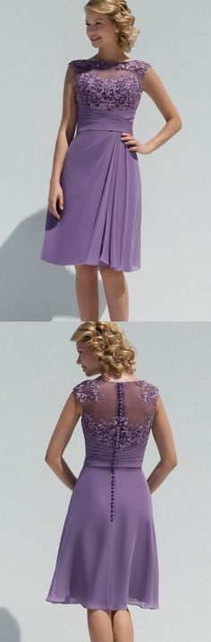 bateau neckline knee length a-line/princess purple chiffon bridesmaid dress