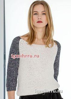 Черно-белый пуловер с рукавами 3/4. Вязание спицами