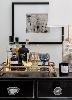 How To Incorporate a Home Office into Your Living Room - Decorative Tray - Ideas of Decorative Tray - Apartment 34 Bar Cart Styling, Bar Cart Decor, Styling A Buffet, Bar Tray, Bar Set Up, Bar Furniture, Furniture Update, Indian Furniture, Leather Furniture