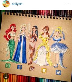 Just finished this fun coloured pencil drawing- inspired by an illustration I saw by My version of social media dresses featuring some of my favourite Disney princesses. by lindagarlandpinkoala Disney Kunst, Arte Disney, Disney Art, App Drawings, Art Sketches, Pencil Drawings, Cute Disney Drawings, Cute Drawings, Drawing Disney