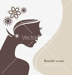 Beautiful woman silhouette vector on VectorStock®