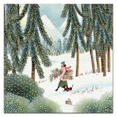 Christmas Illustration, Illustration, Drawings, Painting, Female Art, Whimsical Art, Art, Pictures, Winter Art