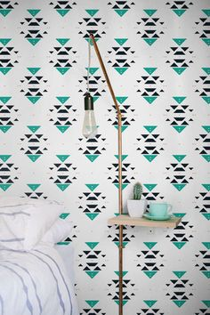 Bohemian patterned removable wallpaper, Boho decal, Bohemian removable wall decal, BW108