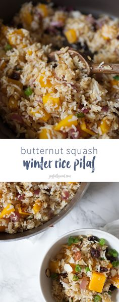 Looking for an easy side dish you can whip up in 15 minutes? This butternut squash filled winter rice pilaf is the perfect side dish to get on the table in just minutes and enjoy a hearty, winter flavor-filled dish! rice recipe | rice pilaf recipe | easy side dish | side dish recipe | quick side dish recipe | butternut squash | almond slivers | cranberries | rice pilaf via @joyfullymad