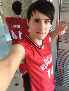 Dan in his Wildcats jersey.  *swoon* <--- i do  swoon but ironically .... but to be fair that's pretty cute :3 never mind i lied i do not swoon ironically i am just weak