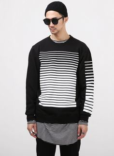 XQUARE 23 Parallel Sweatshirt $40.00  #Fashion #Street #Style #Stripe…