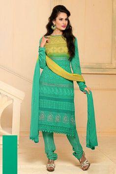 Glorius Green Semi Stitched Party Wear Salwar Kameez EBSFSK15503C - Rs. 1516.00