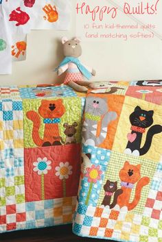 Sew cute! This Purrrfectly Pretty Kitties quilt and matching stuffed pal are just one of 10 adorable sets in Happy Quilts by Antonie Alexander. From playful puppies to retro robots, not-so-scary monsters to super heroes, this fanciful collection offers easy-to-follow directions for making one-of-a-kind projects with portable friends! Also, get tips for personalizing projects to suit any decor.