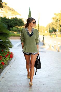 Green Jersey / Sweater - Vero Moda via Buylevard ,Shirt / Shirt - Zara (old) Shorts - Zara,Dancers / Flats - Oasap Bag / Bag - Michael Kors Selma medium size ,Sunglasses / Sunglasses  - Prada  Seams for a Desire