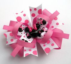 Minnie Pink And White Mouse Head Boutique Hair Bow - Baby, Toddler, Girls Handmade Hair Bow