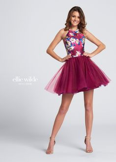Ellie Wilde EW21704S - Short halter homecoming dress. Sleeveless printed Mikado and tulle short A-line dress with cascading tie back halter neckline, printed Mikado bodice, gathered full tulle skirt. Sister dress to styles EW21701S, EW21702S, EW21703S, EW21705, EW21706S, EW21707S, EW21709S, EW21710, EW21711S and EW21712S.