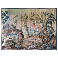 20k 87.01 in.Hx112.2 in.W  Turkey Striking 18th Century Aubusson Verdure Tapestry with Three Birds in a Landscape | From a unique collection of antique and modern tapestries at https://www.1stdibs.com/furniture/wall-decorations/tapestry/