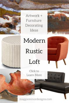 modern rustic loft apartment living room with oversized artwork   abstract modern rustic canvas print artwork with brown white red and beige colors   modern residential interior design ideas   orange and gold contemporary organic ceramic sculpture   large leather sectional sofa ideal for a loft apartment   industrial loft decor ideas   textured white ottoman   wayfair furniture   complete room designs   maggie minor designs