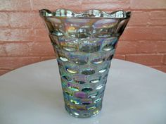 "Federal Glass Iridescent Sundown Carnival Colonial Yorktown 8"" Vase #FederalGlass"