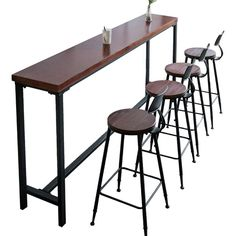 Yy iron bar snack bar and cafe tables and chairs against the wall home strip of solid wood bar table high Bar Patio, Outdoor Patio Bar Sets, Wood Bar Table, Table Cafe, Bar Table Design, Bar Chairs, Bar Stools, Dining Chairs, Dining Table
