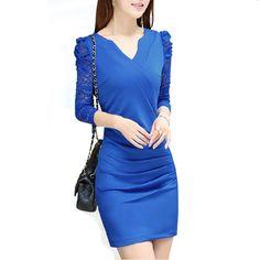 Women's #Business V-neck Long Sleeve Lace Long Sleeve Slim Elegant Dress