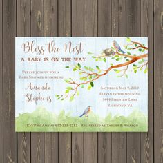 Bird Baby Shower Invitation, Tree with Birds Baby Shower Invitation, Bless the Nest Shower Invite, Gender Neutral, Printable or Printed