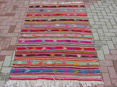 VINTAGE Turkish Kilim Rug Carpet, Handwoven Kilim Rug,Antique Kilim Rug,Decorative Kilim, Naturel Wool 45,6 X 75,1