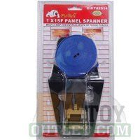 """Panel Ratchet Spanner Tie Down Spanner Belt Clamp for Floor Panels (1"""" x 15') by JND. $12.95. Install your wooden floors like a professional. Don't use a 2x4 and a mallet to install your expensive wooden floors! This panel spanner stretches across most rooms to securely and tightly join together your floors for the seamless finish.      Features & Specifications    Ratcheting strap measures 15ft long.  Black coated finish helps protect against damage to your wooden..."""
