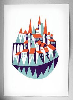 'River Laced' original screen print by Minka Svarcs via etsy. Art And Illustration, Illustrations Posters, Hipster Illustration, City Poster, Creature Comforts, Arte Popular, Silk Screen Printing, Claude Monet, Clipart