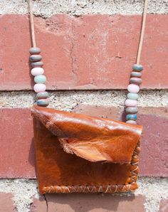 Leather and Glass Bead Pouch Necklace
