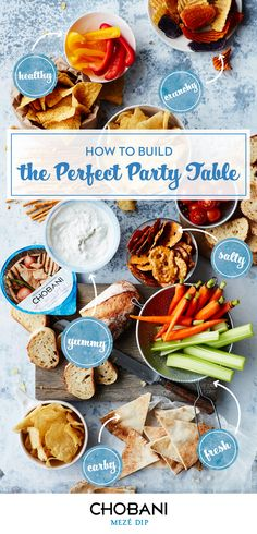 Building a delicious, well-rounded party spread is half the battle of hosting! Make sure you've always got lots of dipping choices and NEW Chobani Mezé™ Dips with 80% less fat and 65% fewer calories than the leading hummus*! (*Chobani Mezé™ Dip:1g fat, 25 calories; leading hummus: 5g fat; 72 calories per 2 Tbsp serving)