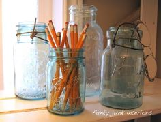 Mason jars in home office