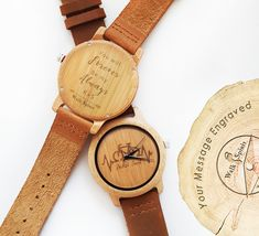Personalized bicycle bamboo watch. Unique design by Walk Spirit. Comes with a free bicycle bracelet as well.