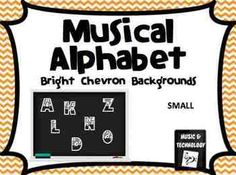 Bright Chevron Musical Alphabet (Small)- These colorful posters come in 15 different bright chevron colored backgrounds. Use these posters to help teach students about musical instruments and musical terms or just as a fun decoration for your classroom. There is 1 musical term or instrument for every letter of the alphabet. These small posters contain 2 letters on an 8.5x11 with a dotted line to show where you should cut them in half.