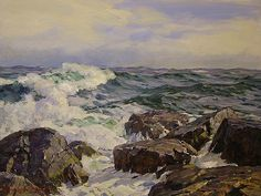 Incoming Surf by Stapleton Kearns, oil 18 x 24 inches Landscape Art, Landscape Paintings, Landscapes, Ocean Storm, Seascape Paintings, Acrylic Paintings, Sea Waves, Ocean Art, Art Techniques