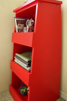 (Storage Bins Shelf Style Woodworking Plans by irontimber on Etsy.) In love with this color!