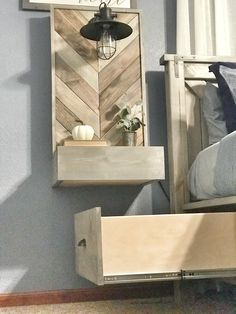 Designing Our Nightstands — Ashley Diann Designs Floating Headboard, Floating Bed, Floating Nightstand, Floating Shelves, Nightstand Plans, Rustic Nightstand, Bedroom Night, Bedroom Ideas, Master Bedroom Makeover